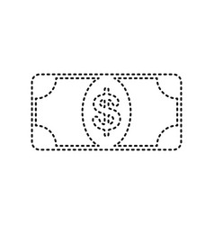 bank note dollar sign black dashed icon vector image vector image