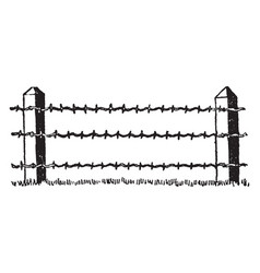 Barbed wire fence gates vintage engraving vector