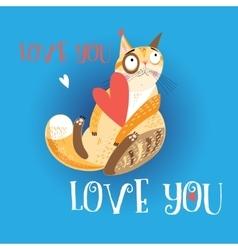 Beautiful love cat vector image