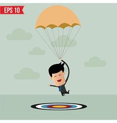Business man with parachute on the target vector