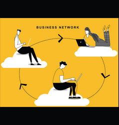 business network path flowing vector image