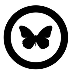 butterfly icon black color in circle vector image