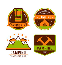 Camping flat set with hiking equipment logo vector