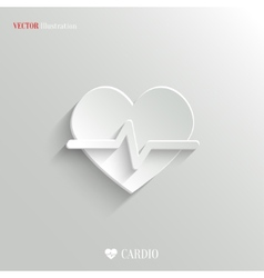 Cardiology icon - white app button vector image