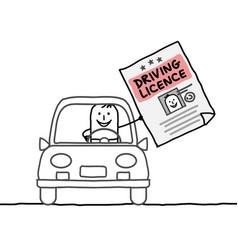 Cartoon characters - man driving licence vector