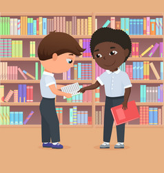 Children standing in library or bookstore together vector
