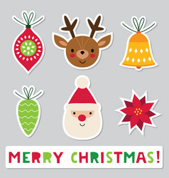 Christmas stickers set vector