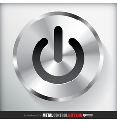 Circle Metal Start Power Button vector image