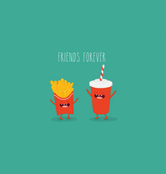 cola and french fries friends vector image