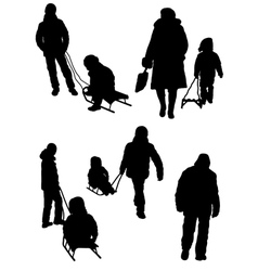 Collection of silhouettes of people and children w vector image