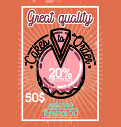 Color vintage cakes to order banner vector