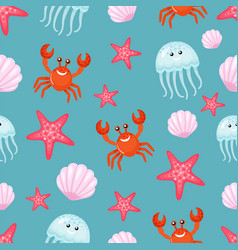 Crab and jellyfish seashell and sea star pattern vector