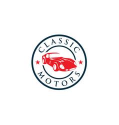 creative classic cars logo concept design vector image