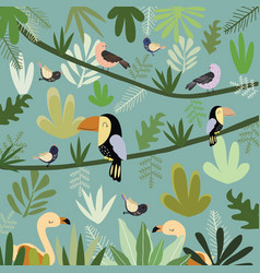cute bird in botanical tropical forest pattern vector image