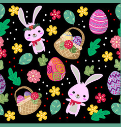 Cute bunny and easter eggs seamless pattern vector