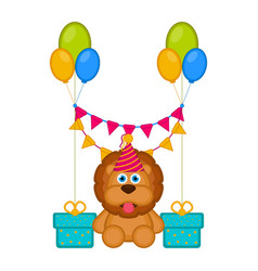 cute lion with a party hat and presents vector image