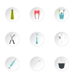 Dental treatment icons set flat style vector