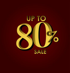 Discount sale label up to 80 red gold template vector