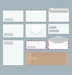 envelope template office close up blank mockup vector image