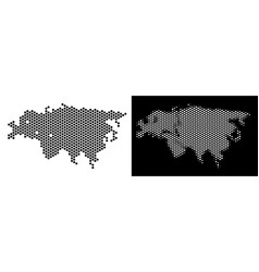 Europe and asia map hex-tile scheme vector
