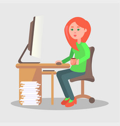 female character sit at table with computer vector image