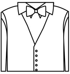 figure sticker shirt with bow tie and waistcoat vector image