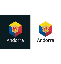 Flag andorra in set flat icons vector