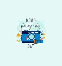 flat design world photography day logo vector image