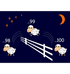 Funny cartoon sheep jumping through the fence vector image