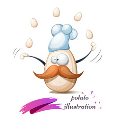 Funny cute crazy egg with mustache whisker vector