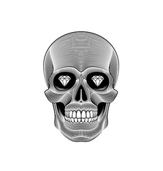 Graphic print of stylized skull on white vector