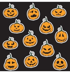 Halloween pumpkin stickers vector