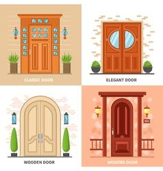 House Doors 2x2 Design Concept vector