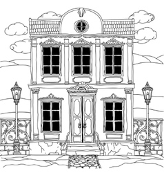 House drawing with details for adult coloring book vector