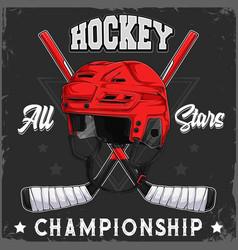 ice hockey red helmet and crossed sticks vector image