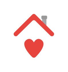 icon concept of heart under house roof vector image