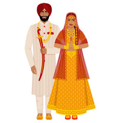 Indian bride and groom in traditional costumes vector
