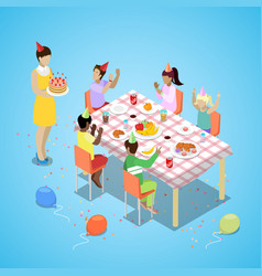 isometric birthday party celebration with children vector image