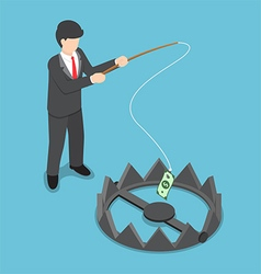 Isometric businessman stole money from bear trap vector image