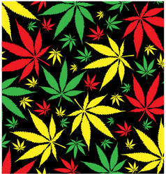 Jamaican marijuana pattern on black background vector