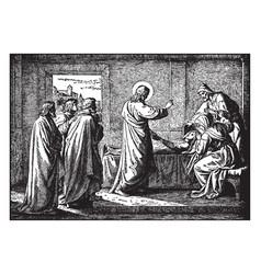 Jesus resurrects the daughter of jairus ruler of vector