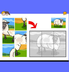 jigsaw puzzles with sheep animal character vector image