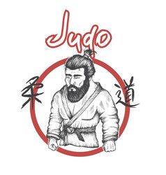 judo logo with judoka vector image