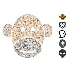 Linear monkey face icon mosaic vector