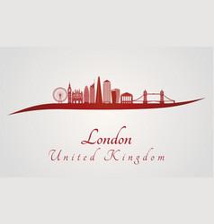 london v2 skyline in red vector image