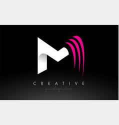 M white and pink swoosh letter logo letter design vector