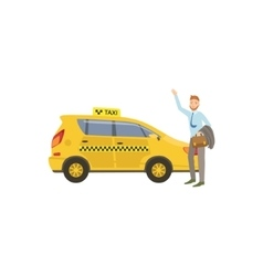 Man Catching A Yellow Taxi Car vector
