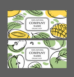 Mango green apple labels design sketch vector