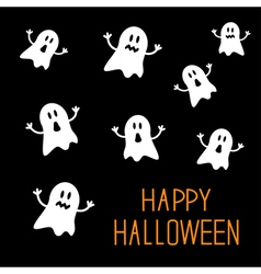 Many spook ghosts Happy Halloween card Flat design vector