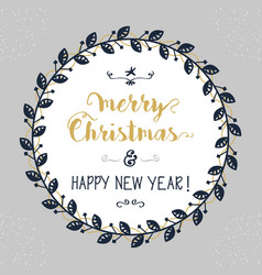 merry christmas and happy new year floral circle vector image